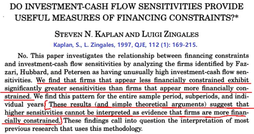 Kaplan & Zingales (1997, QJE) 摘要