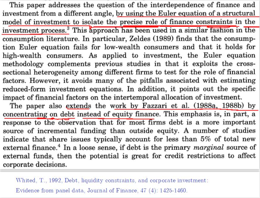 Whited (1992, JF) 文中研究贡献的表述